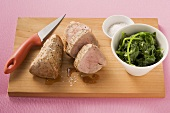 Veal fillet with spinach