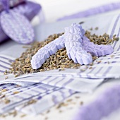 Lavender soaps on dried lavender flowers