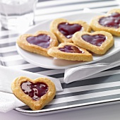 Heart-shaped jam biscuits