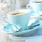 Espresso in pale blue cup