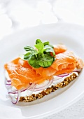 Cream cheese, smoked salmon and onion on wholemeal bread