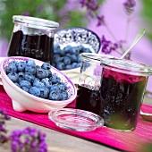 Blueberry jam and fresh blueberries