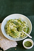 Tagliatelle with corn salad pesto and grated cheese