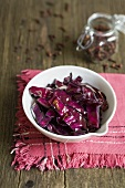 Fried strips of red cabbage