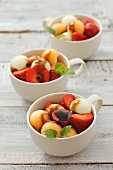 Strawberry and melon salad with balsamic vinegar