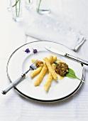 Deep-fried white asparagus