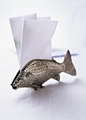 Silver fish napkin holder