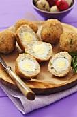 Scotch eggs made with quails' eggs