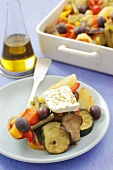 Briam (Greek vegetable bake) with feta cheese
