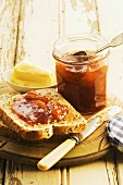 Buttered wholemeal toast with jam