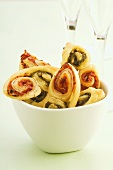 Palmiers with pesto and tomato filling