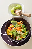 Vegetable salad with chilli dressing