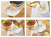 Making cheese and nut dressing