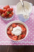 Rhubarb and strawberry compote with vanilla