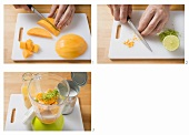 Making mango and lime smoothie