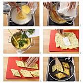 Making polenta diamonds with herbs