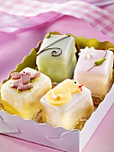 Four petit fours in a box