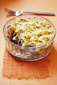Macaroni and mushroom bake in glass dish