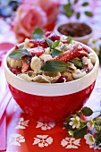 Pasta salad with strawberries