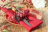 Autumn place-setting with napkin decoration of spindle tree fruit