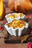 Individual pumpkin bakes in baking dishes