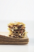 Plum and nut millefeuille with filo pastry