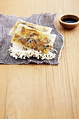 Mushroom and seitan millefeuille with brick pastry