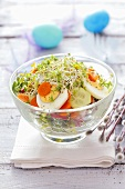 Cucumber, carrot, egg and cress salad for Easter