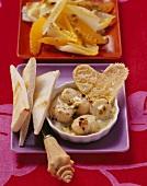 Scallop gratin and chicory and orange salad