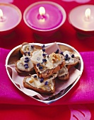 Gorgonzola with lavender flowers on toasted walnut bread