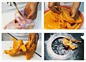 Making tandoori chicken (seasoning, threading on skewer)