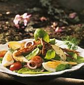 Salad with smoked fish and apple