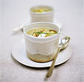 Creamed potato soup garnished with chives