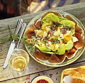 Salad with courgettes and Parma ham