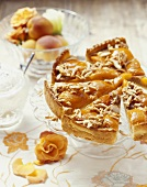 Apricot tart with almond caramel