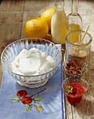 Ingredients for cakes & desserts (cream, strawberry puree)