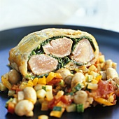 Wild boar fillet & baby spinach in puff pastry, vegetable ragout