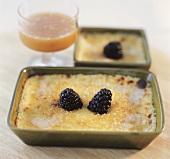 Crema catalana with blackberries