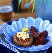 Fillet steak with spiced butter and beetroot