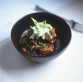Fried tofu with bean sauce