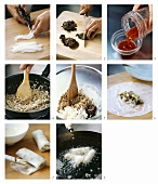 Making Cha Gio (Vietnamese spring rolls)