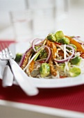 Stir-fried vegetables with Brussels sprouts, sprouts & sesame
