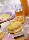 Fish burger with herbs