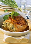 Veal breast with pea and herb stuffing