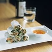 Rice paper rolls with daikon radish & sweet & sour chilli sauce