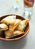 Filo pastries with spinach and goat's cheese filling