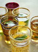 Mint tea in decorative glasses