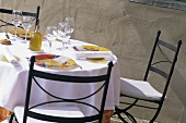 Laid table in the open air (Provence, France)