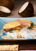 Duck breast with coconut crust and glass noodles