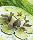 Artichoke custard with slices of lime